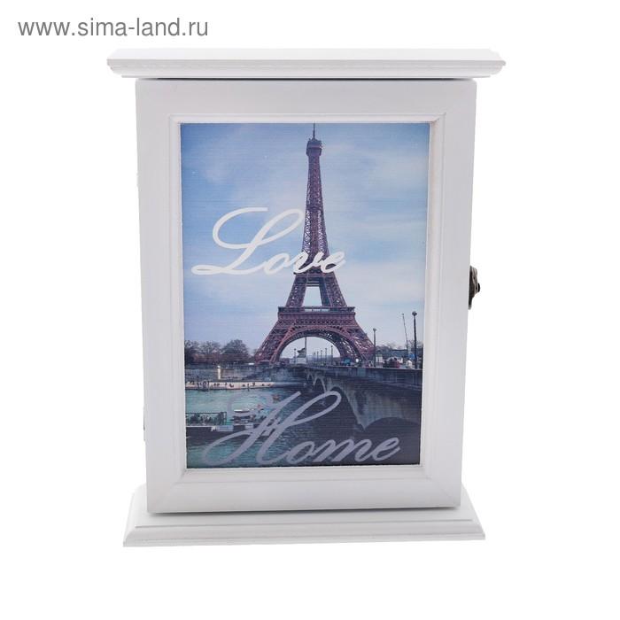"""Ключница дерево 6 крючков """"Париж. Любовь. Дом"""" 23,8х18х6,5 см"""