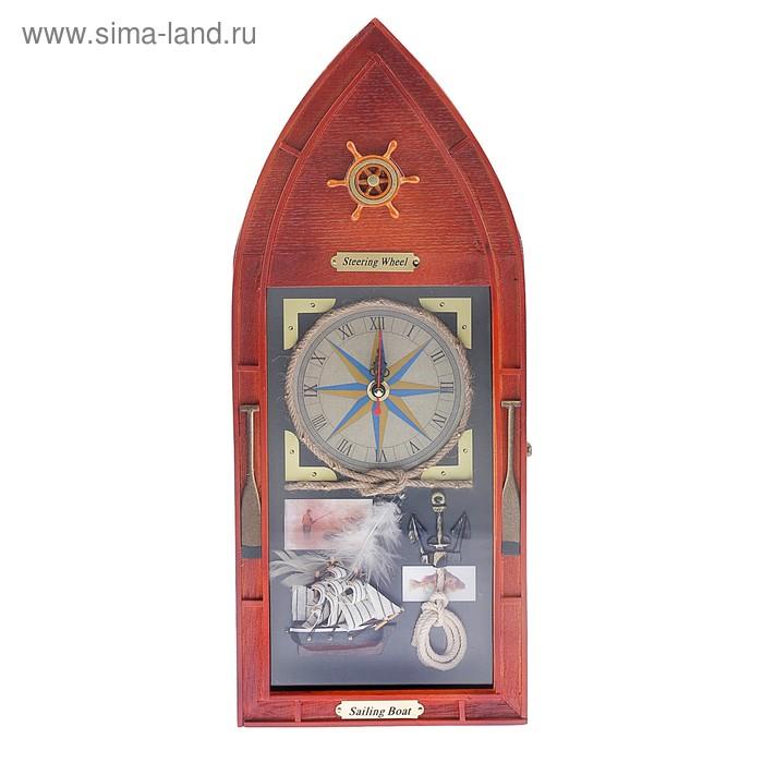 """Ключница дерево 6 крючков с часами лодка """"Корабль"""" 33,5х25х7 см"""