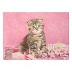 Накладка на стол дизайнерская «Котёнок в цветочках» А4+, 33,7 х 24,2 см, для девочки
