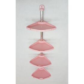 Полка угловая, 4 полки, цвет розовый