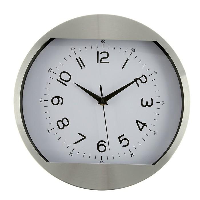 """Часы настенные, серия: Классика, """"Мэдисон"""", хром, d=30 см"""