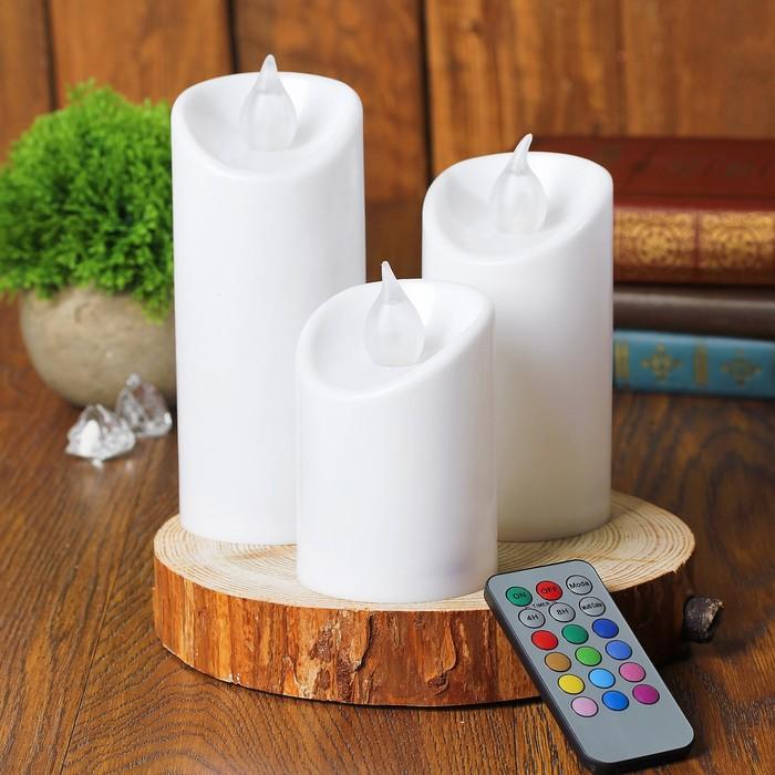 Свеча светодиодная «Романтик», с пультом, набор 3 шт.