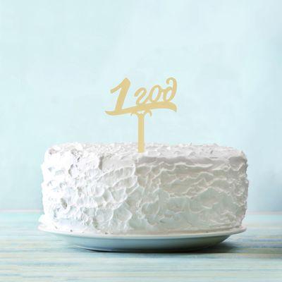 """Топпер в торт """"1 год"""", акрил золото"""