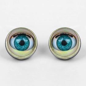 Глаза моргающие с ресничками, полупрозрачные, набор 2 шт, цвет зелёный, размер 1 шт: 2,2 см