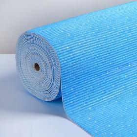 Коврик для ванной комнаты 0,65х15 м 'Капли' цвет голубой Ош