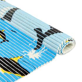 Коврик для ванной комнаты 0,65х15 м 'Дельфины' цвет голубой Ош