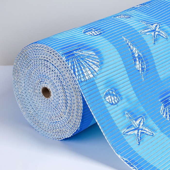 Коврик напольный ПВХ «Ракушки», ширина 65 см, рулон 15 м, цвет голубой
