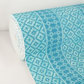 Коврик для ванной комнаты 0,65х15 м 'Квадраты' цвет голубой Ош