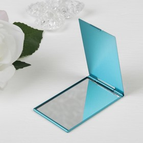 The mirror is a foldable, single-sided, no magnification, color blue