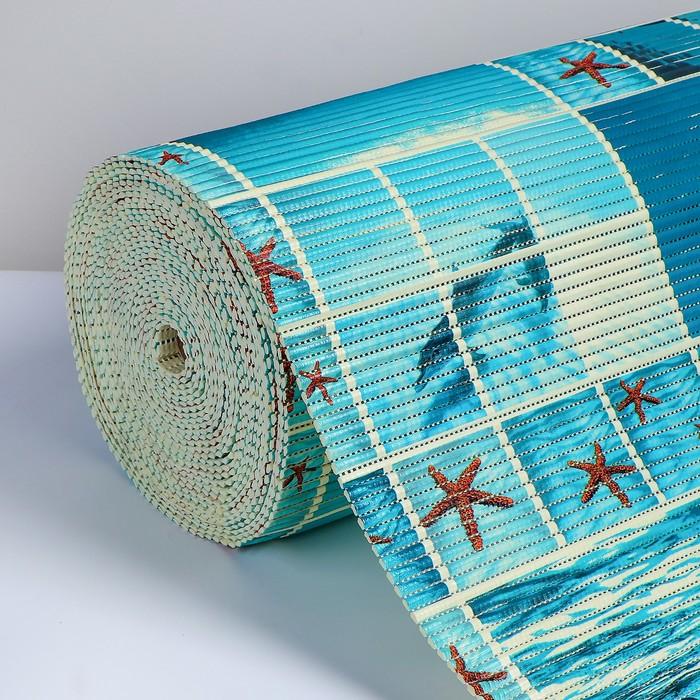 Коврик напольный ПВХ «Море», ширина 65 см, рулон 15 м, цвет голубой