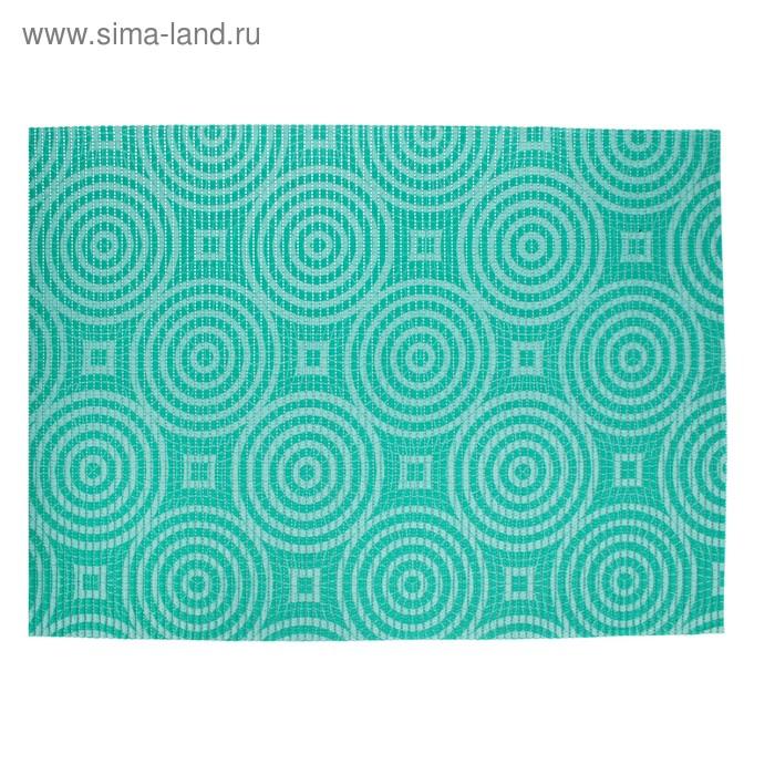 Коврик напольный ПВХ ширина 65 см, рулон 15 м V-line illusion, цвет бирюзовый