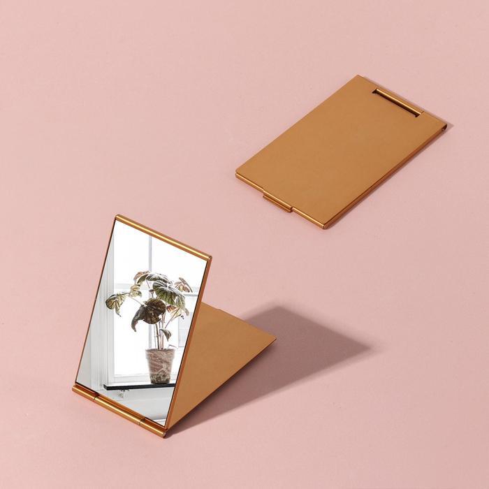 Зеркало складное, прямоугольное, одностороннее, без увеличения, цвет золотой