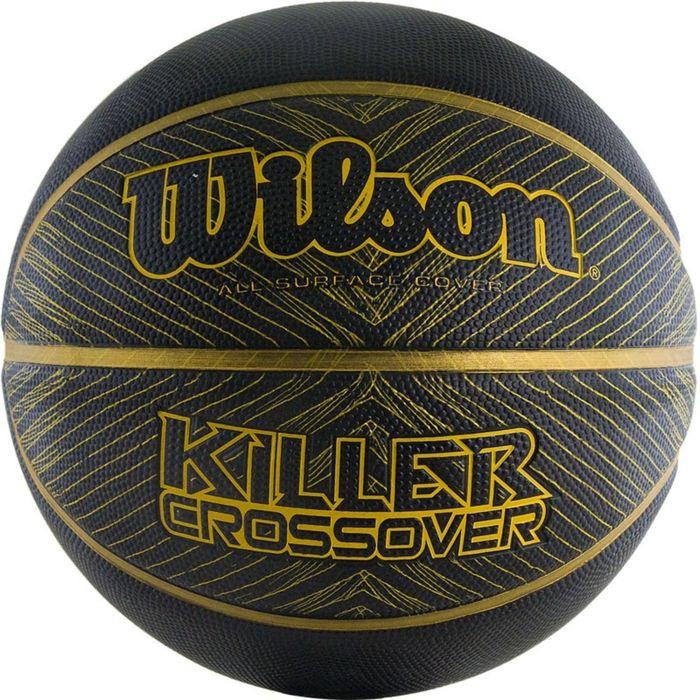 Мяч баскетбольный WILSON Killer Crossover, B0977XB21, резина, размер 7, цвет чёрно-золотой