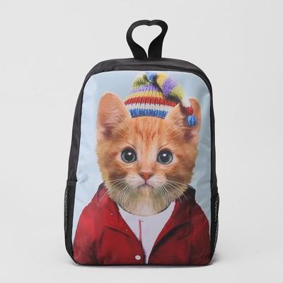 """Ранец молодёжный """"Котёнок"""", отдел на молнии, 2 наружных кармана"""