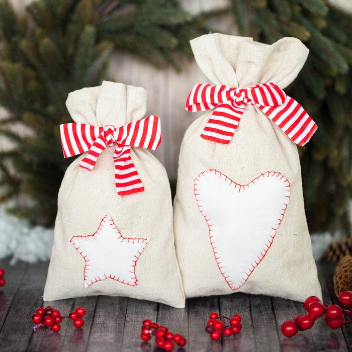 Мешки для подарков «Новогодние сладости», набор для шитья, 16,3 × 10,7 × 2,5 см - фото 692025