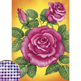 Алмазная вышивка с частичным заполнением 'Розы', 15 х 21 см Ош