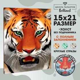 Алмазная вышивка с полным заполнением «Тигр», 15 х 21 см. Набор для творчества
