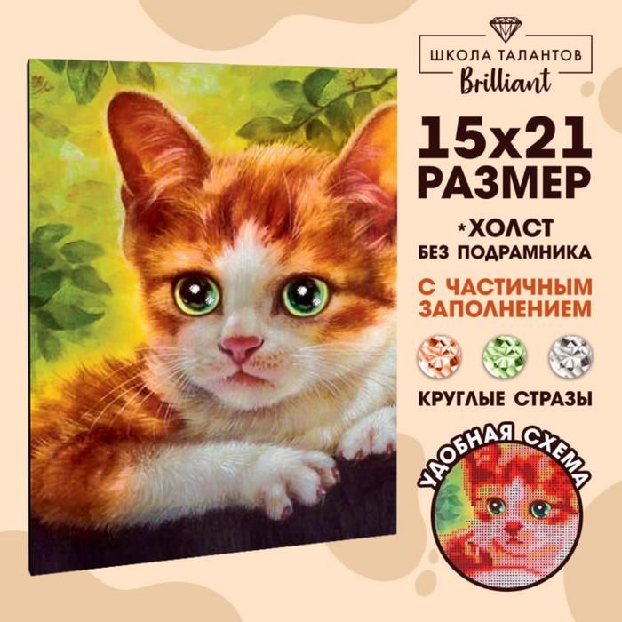 Алмазная вышивка с частичным заполнением «Котёнок», 15 х 21 см. Набор для творчества