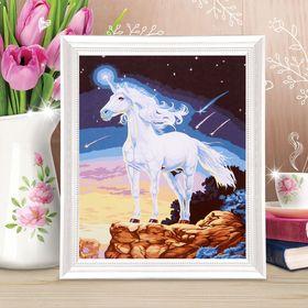 Роспись по холсту «Единорог» по номерам с красками по 3 мл+ кисти+крепёж, 30 × 40 см