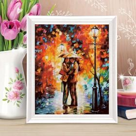 Роспись по холсту «Пара под зонтом» по номерам с красками по 3 мл+ кисти+крепёж, 30 × 40 см