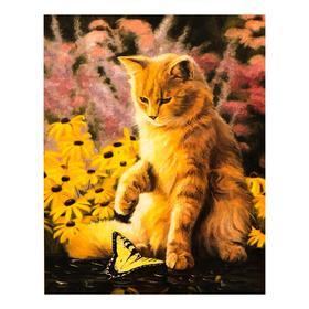 Роспись по холсту «Кот с бабочкой» по номерам с красками по 3 мл+ кисти+крепёж, 30×40 см
