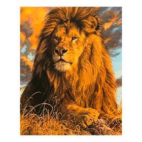Роспись по холсту «Лев» по номерам с красками по 3 мл+ кисти+крепёж, 30×40 см