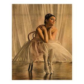 Роспись по холсту «Балерина сидящая на стуле»по номерам с красками по3 мл+ кисти+крепёж, 30×40 см