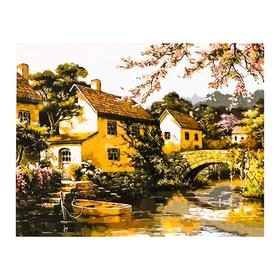 Роспись по холсту «Деревушка у реки» по номерам с красками по 3 мл+ кисти+инстр+крепёж, 30×40 см
