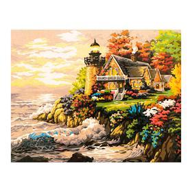 Роспись по холсту «Маяк» по номерам с красками по 3 мл+ кисти+инстр-я+крепёж, 30×40 см