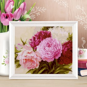 """Painting on canvas """"Bouquet of peonies"""" by numbers paint by 3 ml+ brush+instr-I+fasteners 30*40"""