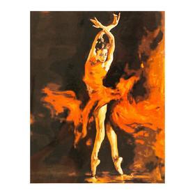 """Роспись по холсту """"Огненный танец"""" по номерам с красками по 3 мл + кисти + инструкция + крепёж"""