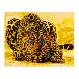 Роспись по холсту «Леопард» по номерам с красками по3 мл+ кисти+инстр-я+крепёж, 30×40 см