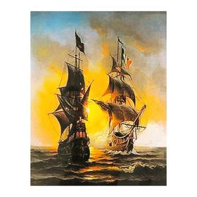 Роспись по холсту «Корабли в море» по номерам с красками по3 мл+ кисти+инстр-я+крепёж, 30×40 см