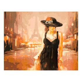 Роспись по холсту «Женщина в черном»по номерам с красками по 3 мл+ кисти+инстр+крепёж, 30×40 см