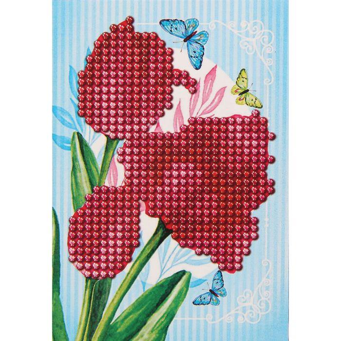 Алмазная вышивка с частичным заполнением с рамкой «Тюльпаны», 9 х 13 см. Набор для творчества - фото 729214916
