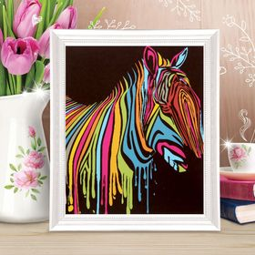 "Painting on canvas ""colorful Zebra"" by the numbers paint for 3 ml+ brush+fasteners 30*40"