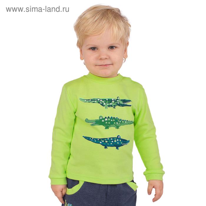 """Джемпер для мальчика """" Крокодилы"""", рост 74 см,  цвет салатовый ЮДД051067_М"""