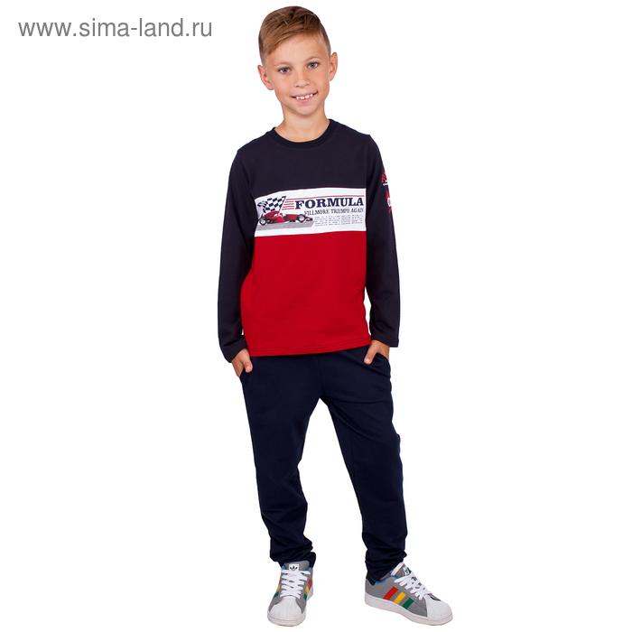 """Джемпер для мальчика """" Формула"""", рост 116 см,  цвет черный/красный ПДД980804"""