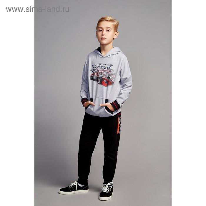 """Джемпер для мальчика """" Формула"""", рост 128 см,  цвет серый, принт гоночная машина ПДД933858"""