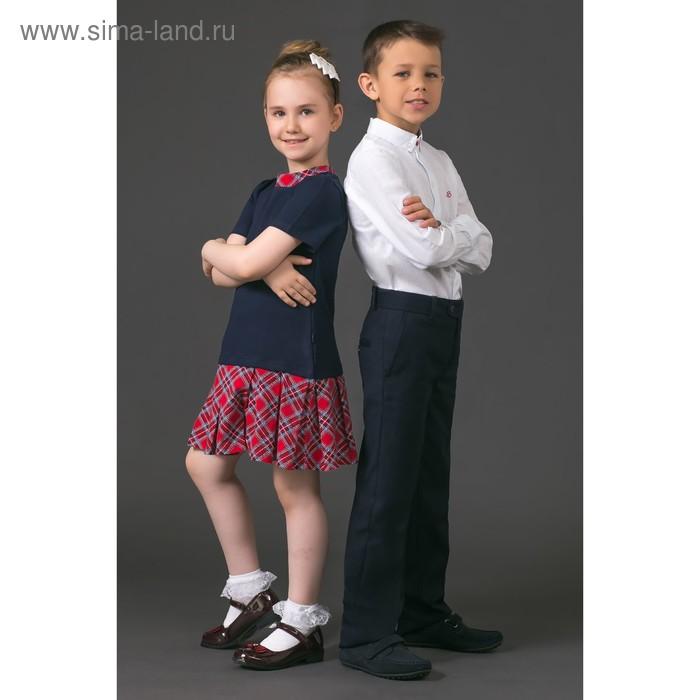 """Платье для девочки """" Прогулка по Лондону"""", рост 122 см,  цвет темно-синий/красный ДПК463258   275440"""