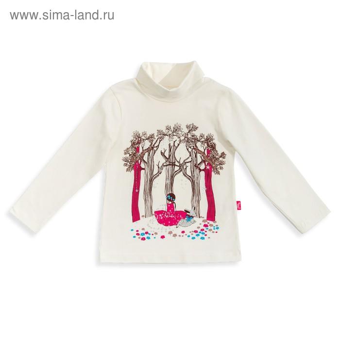 """Джемпер для девочки """" Новая Алиса"""", рост 98 см,  цвет сливки, принт Алиса в лесу ДДД823804"""