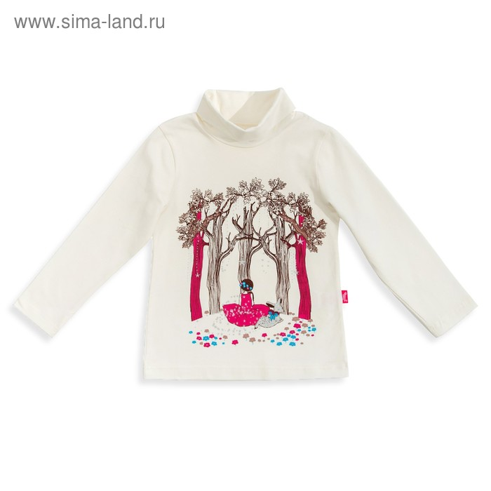 """Джемпер для девочки """" Новая Алиса"""", рост 128 см,  цвет сливки, принт Алиса в лесу ДДД823804   275441"""