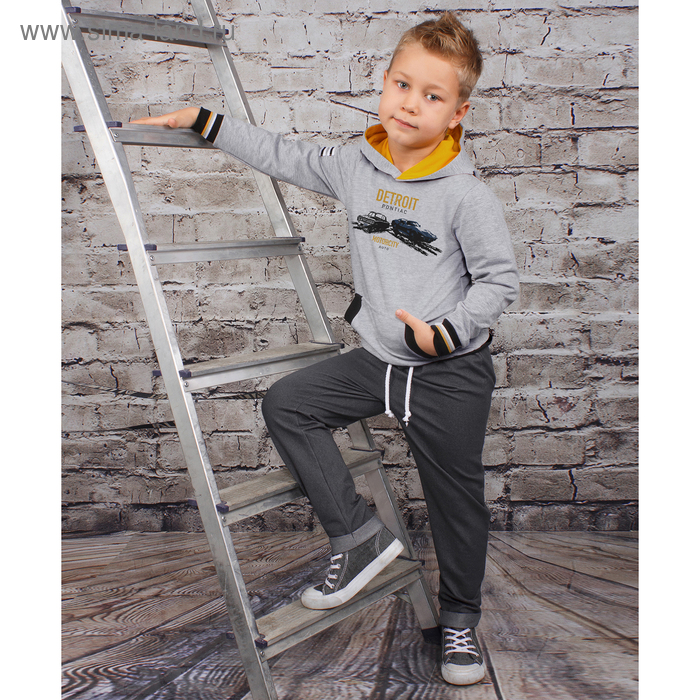 """Джемпер для мальчика """" Темп города"""", рост 98 см,  цвет серый, принт два автомобиля ПДД176858   27544"""
