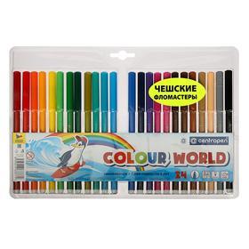 Фломастеры 24 цвета, Centropen Colour World 7550/24 ТП, в блистере, линия 1.0 мм