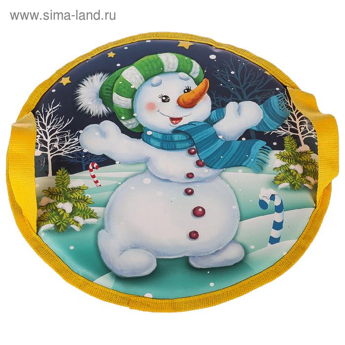 """Санки-ледянки круглые """"Снеговик""""  ф40см б/борта 14-400ПТП (ткань тент, принт, поролон)"""
