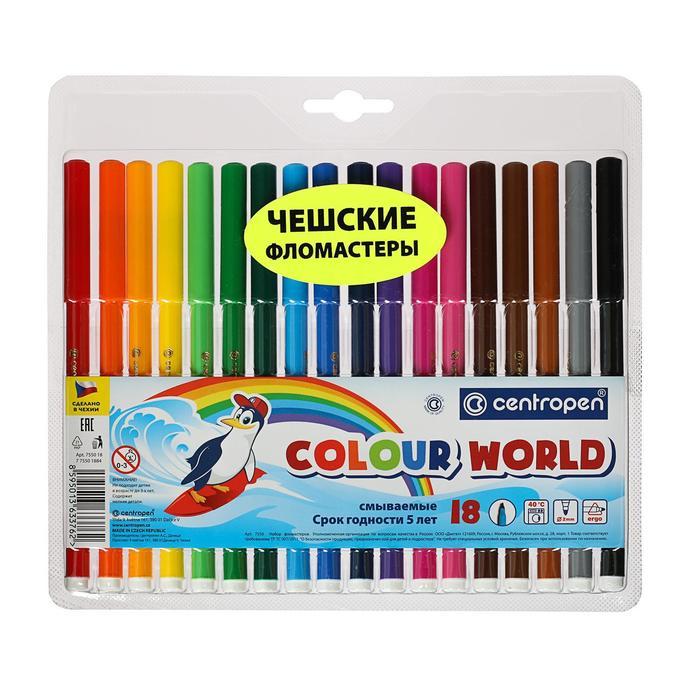 Фломастеры Centropen Colour World 7550/18 ТП, 1.0 мм, 18 цветов, в блистере