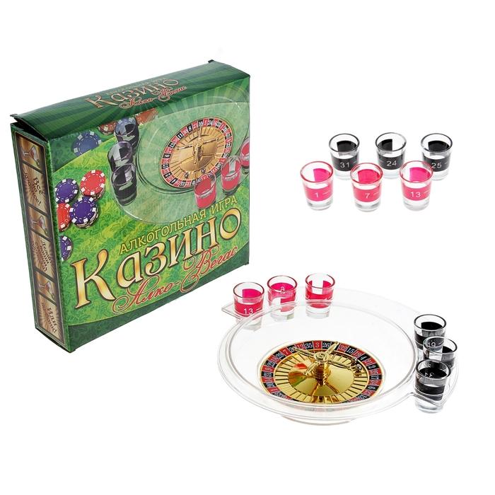"""Пьяная игра """"Алко-Вегас"""": 6 рюмок, рулетка прозрачная"""