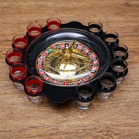 """Пьяная игра """"Алко-Вегас"""", рулетка черная d=29 см, 12 стопок,"""