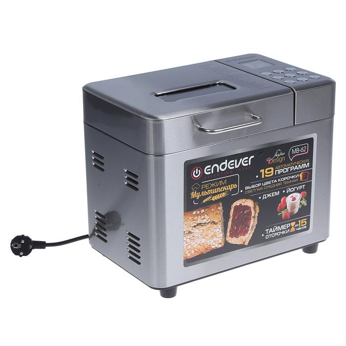 Хлебопечка Endever Skyline MB-62, 680 Вт, 19 программ, 500/750/1000 г, серебристая