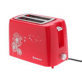 Тостер Sakura SA-7608R, 750 Вт, 5 режимов прожарки, 2 тоста, красный